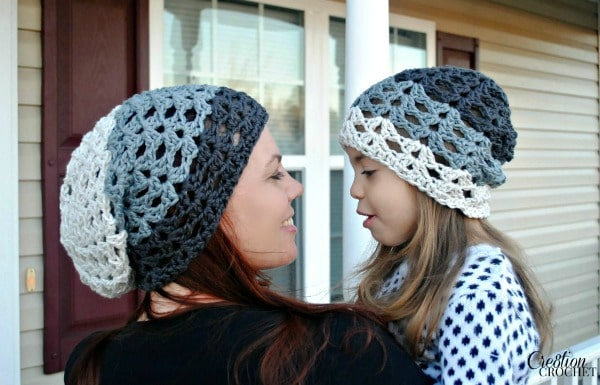 Grayscale Ombre Slouch Free Crochet Slouch Hat Pattern on #cre8tioncrochet in 3 sizes