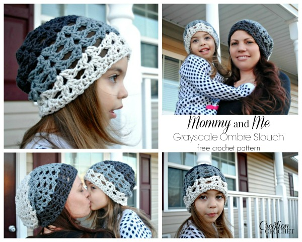 Mommy and Me Grayscale Ombre Crochet Slouch Hat Pattern free in 3 sizes on Cre8tionCrochet