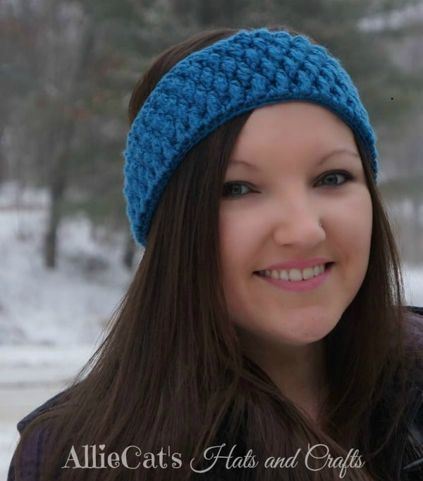 Frozen Beaches Headwrap pattern by Allie Cat's Hats and Crafts featured exclusively on Cre8tion Crochet