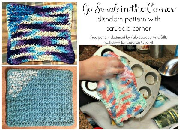 Go Scrub in the Corner free dishcloth pattern with scrubbie corner